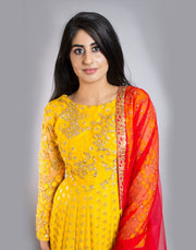 Yellow Brocade Anarkali With Red Dupatta