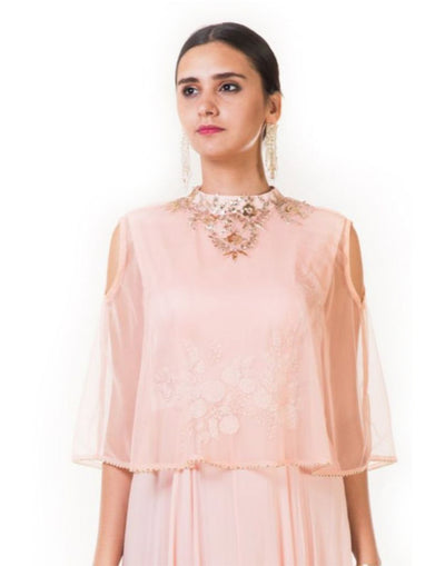 Rent Peach Hand Embroidered Cape Gown with Cold Shoulder-Women-Glamourental