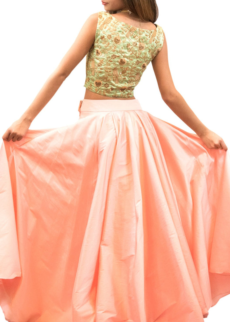 Rent Green And Peach Embroidered Crop Top & Skirt-Women-Glamourental