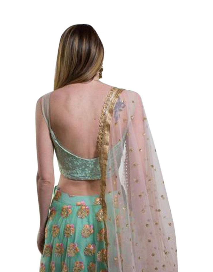 Mint Green and Pink Lehenga Choli-Women-Glamourental