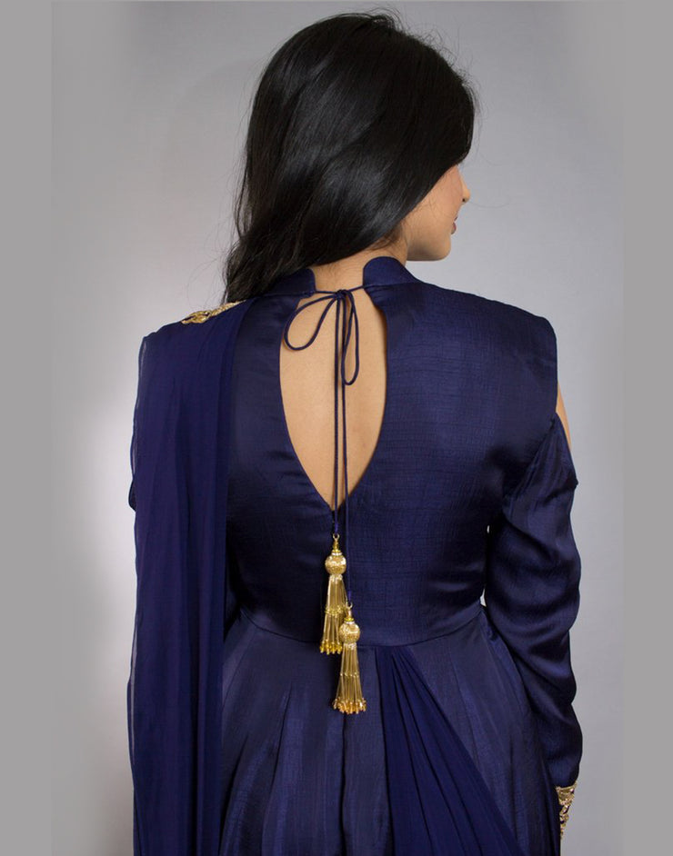 Indigo Blue Saree Gown