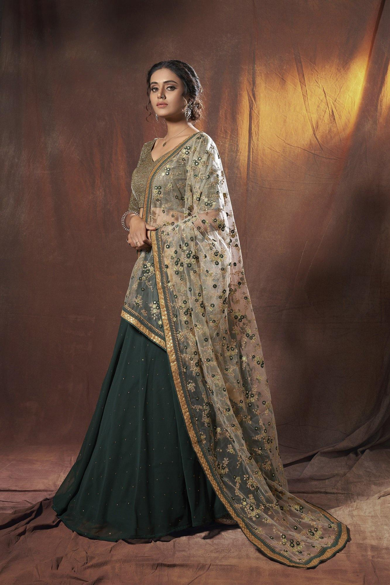 Rent Green Georgette Lehenga with Soft Net Dupatta