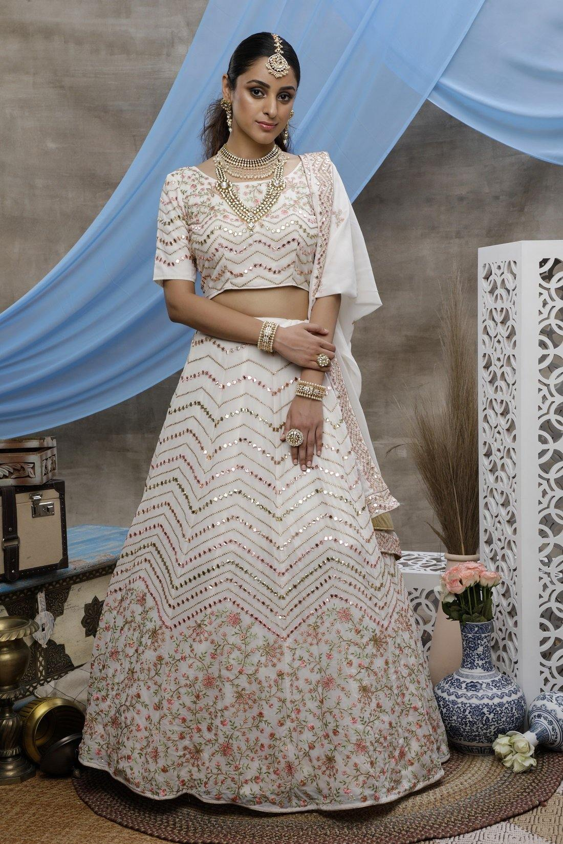 Rent Pearl White Georgette Bridal Lehenga Choli with Thread, gota patti embroidered work