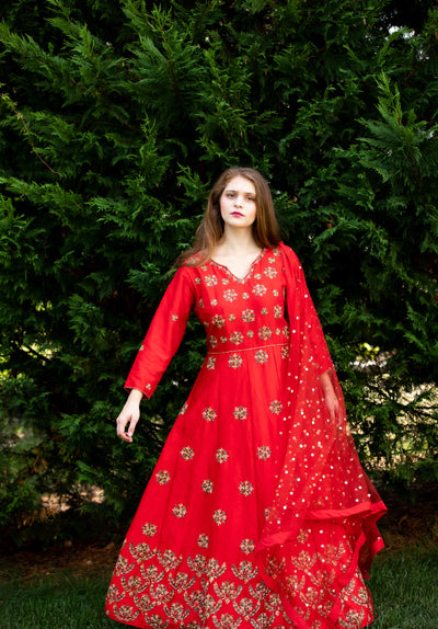 Rent Tomato Red Silk Floor Length Anarkali at Glamourental