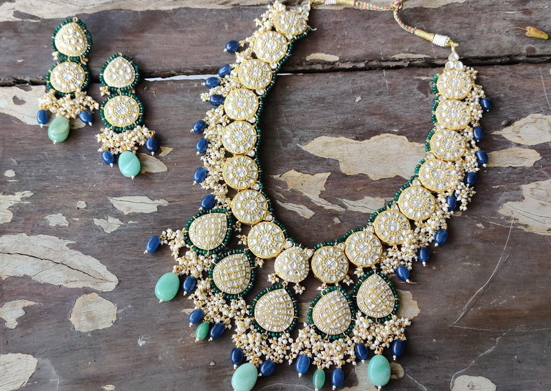 Long Necklace In Blue And Green Beads Loaded With Pearls-Accessories-Glamourental