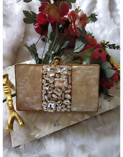 Mandarin Clutch with Stone work-Clutch-Glamourental