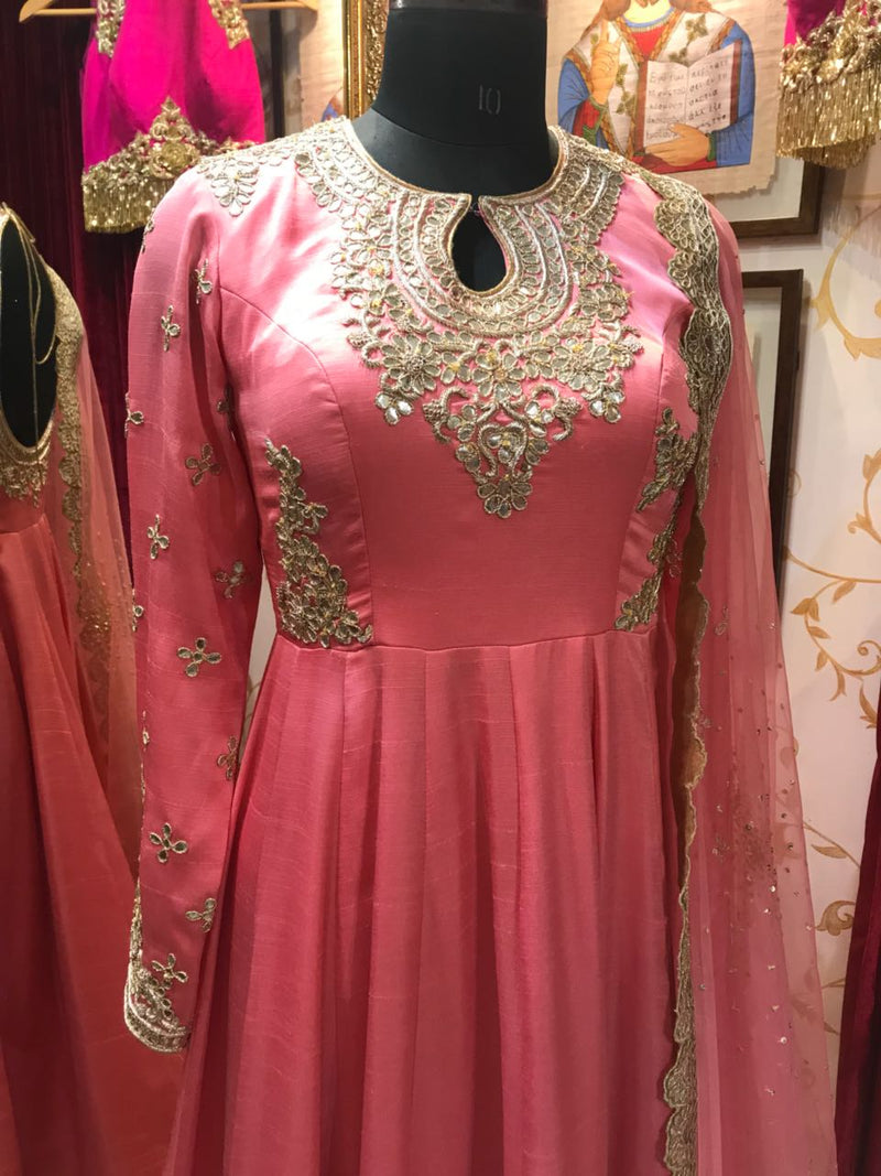 Rent Coral Anarkali With Golden Work Yok-Women-Glamourental