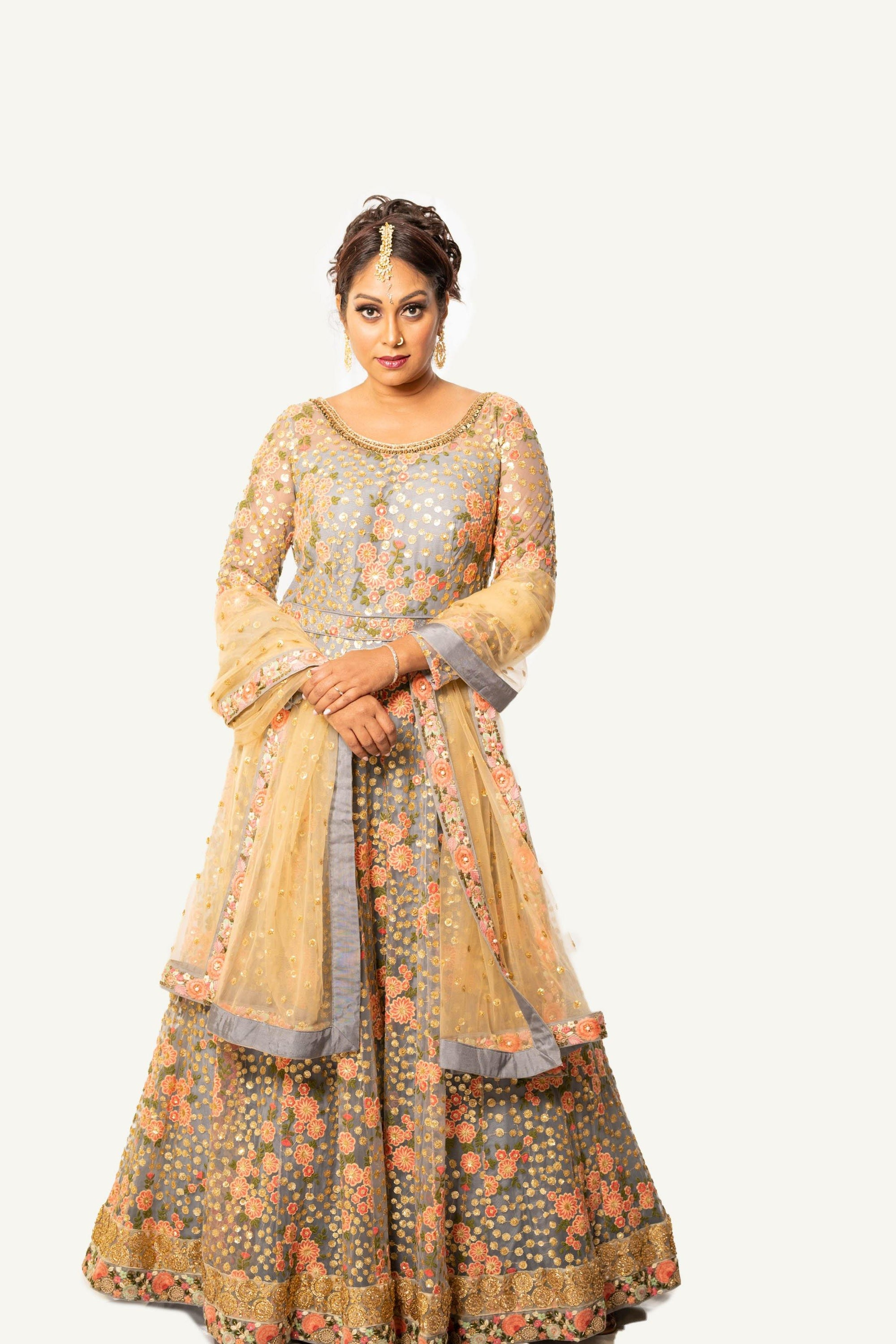 Rent Grey Anarkali with Gold Dupatta