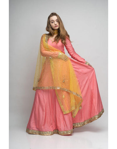 English Pink And Lemond Yellow Combination Silk Anarkali