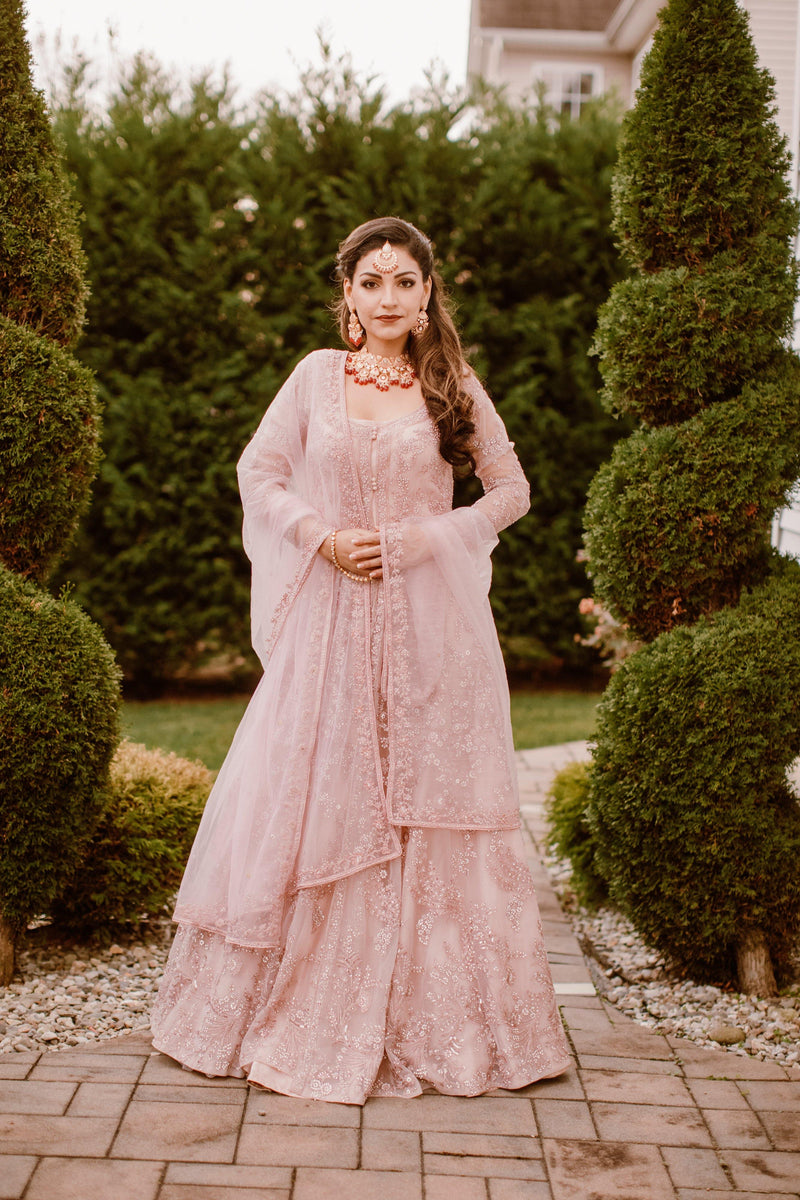 Baby Pink Heavy Bridal Anarkali Gown-Women-Glamourental