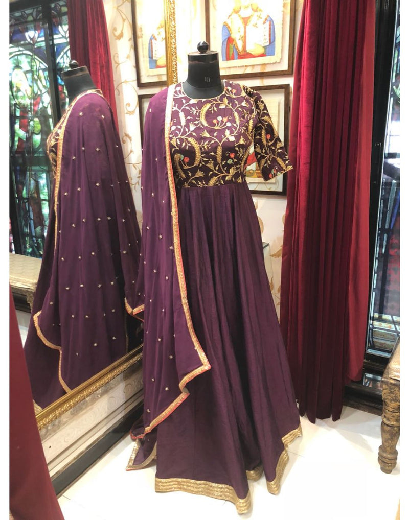 Rent Burgundy Embroidered Anarkali-Women-Glamourental