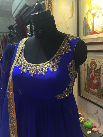 Rent Royal Blue Anarkali - Glamourental-Women-Glamourental