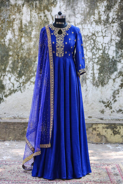 Royal Blue Raw Silk Anarkali
