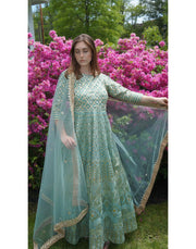 Turquoise Silk Floor Length Anarkali