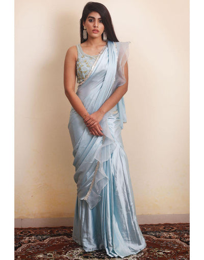 Ice Green Mosaic Embroidery Skirt Saree