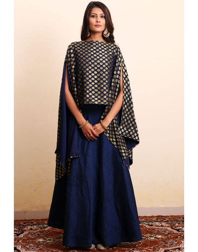 Navy Blue Cape Top & Skirt Set