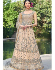 Rent Pale Camel Net Anarkali Gown with Dupatta from GlamouRental-Women-Glamourental