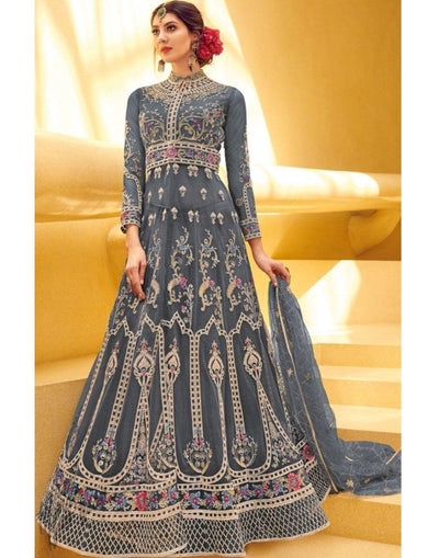 Rent Blue Gray, Long Net Anarkali, Grey Anarkali Dress w/ Dupatta from GlamouRental-Women-Glamourental