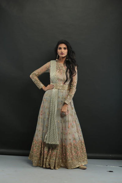 Grey Embellished Print Belt Anarkali Gown-Women-Glamourental