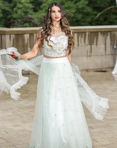 Rent Ice Blue Heavy Net Lehenga Choli-Women-Glamourental