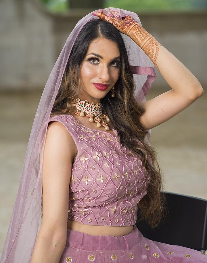 Rent Mauve Pink Heavy Net Designer Lehenga Choli-Women-Glamourental
