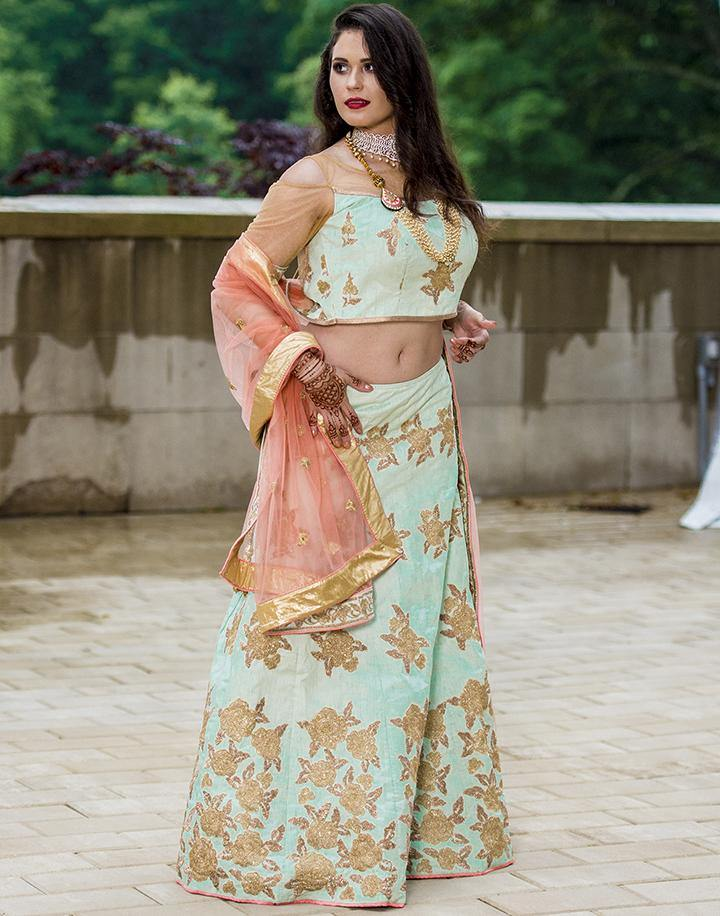 Rent Peach & Pista Green Heavy Lehenga Choli-Women-Glamourental