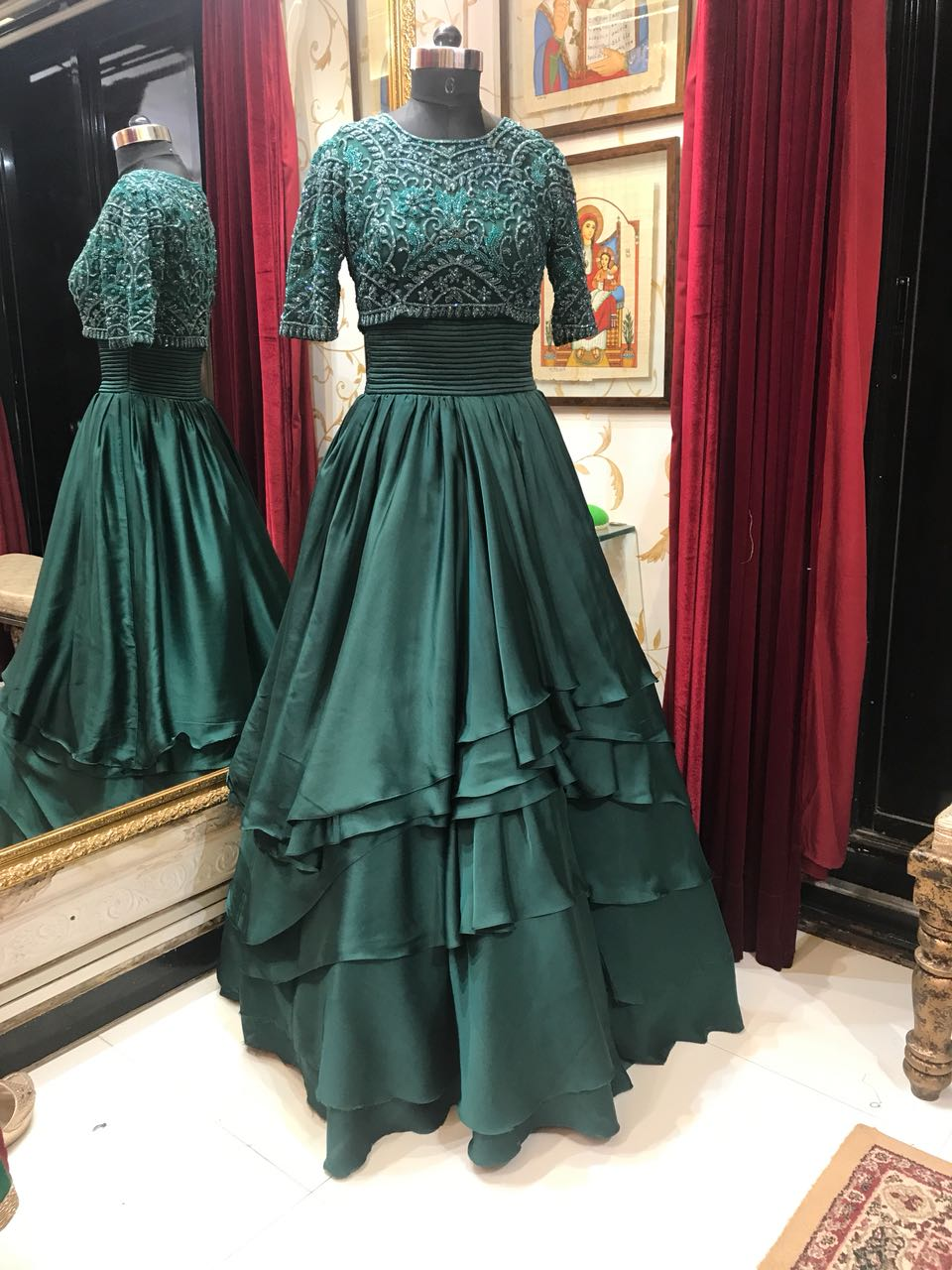 Rent Dark Bottle Green Gown-Women-Glamourental