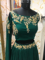 Bottle Green Crop Top & Skirt With Long Sleeves