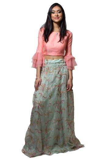 Baby Pink and Sea Green Crop Top-Skirt