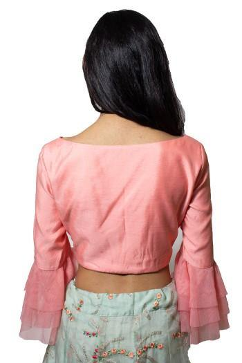 Baby Pink and Sea Green Crop Top-Skirt-Women-Glamourental