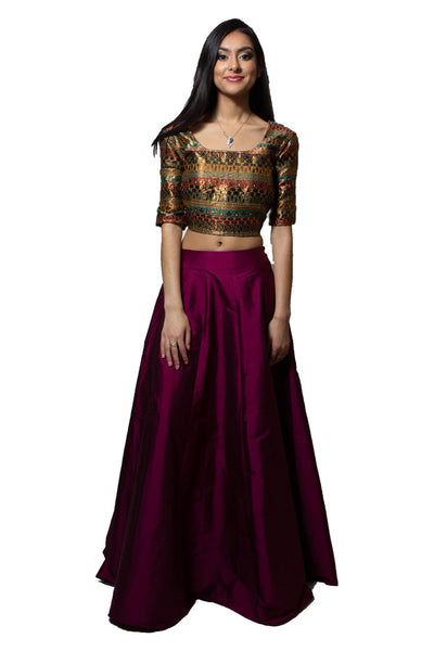 Wine Brocade Crop Top & Skirt