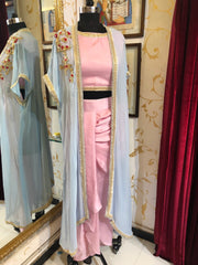 Pink And Cyan Dhoti Jacket