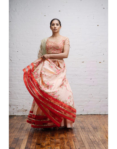 Peach Floral Printed Lehenga with Embroidered Blouse and Dupatta