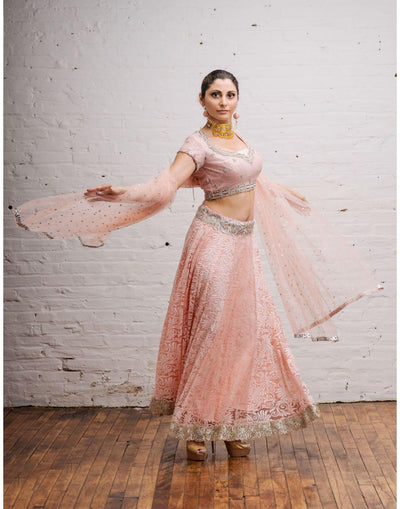 Rent Pink Silk Embroidered Blouse with Brasso Lehenga Accompany in Net Lehenga-Women-Glamourental
