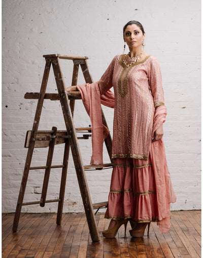 Pink Georgette Hand Embroidered Kurta with Sharara Pant & Dupatta