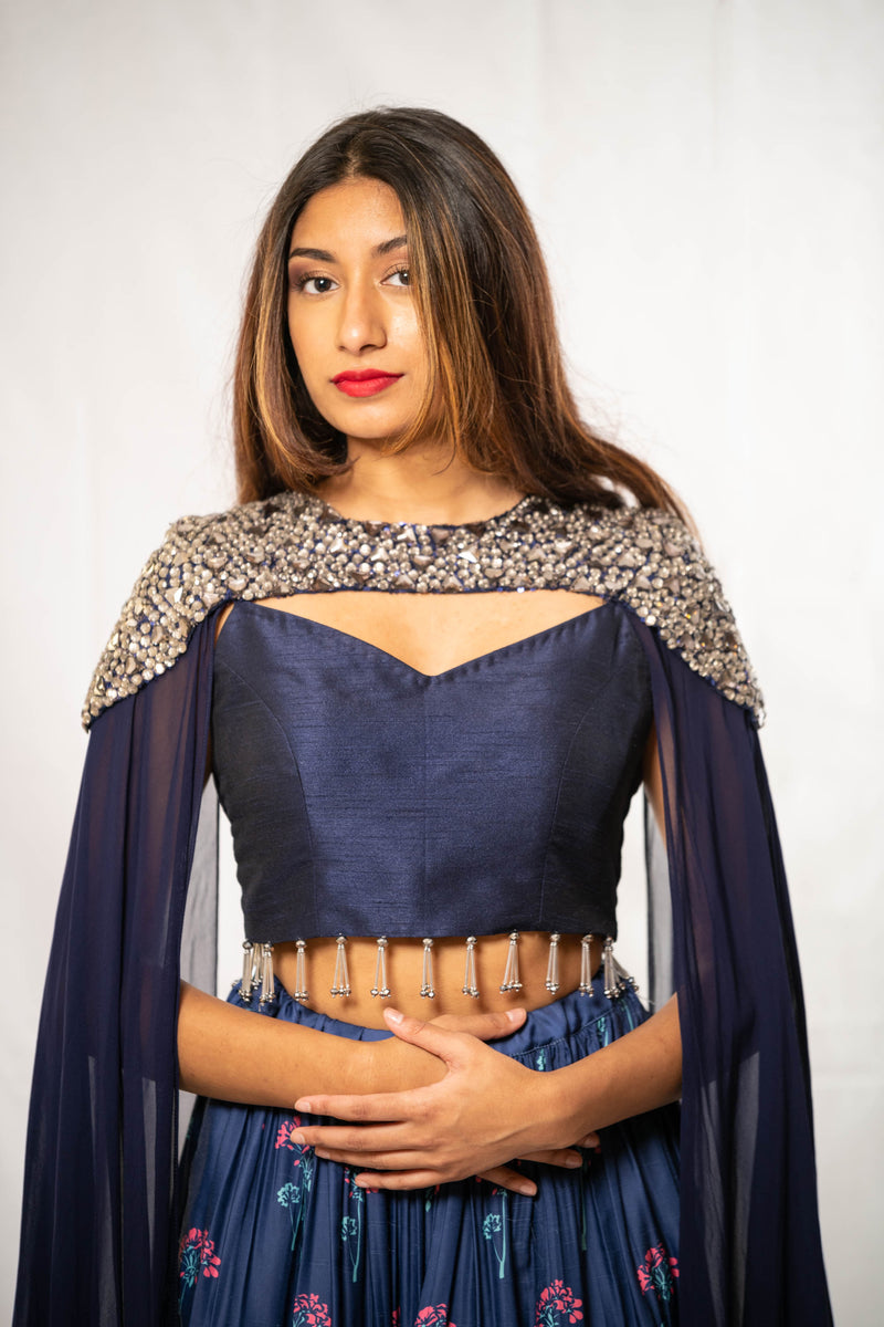 Rent Royal Blue Silk Crop Top with Skirt