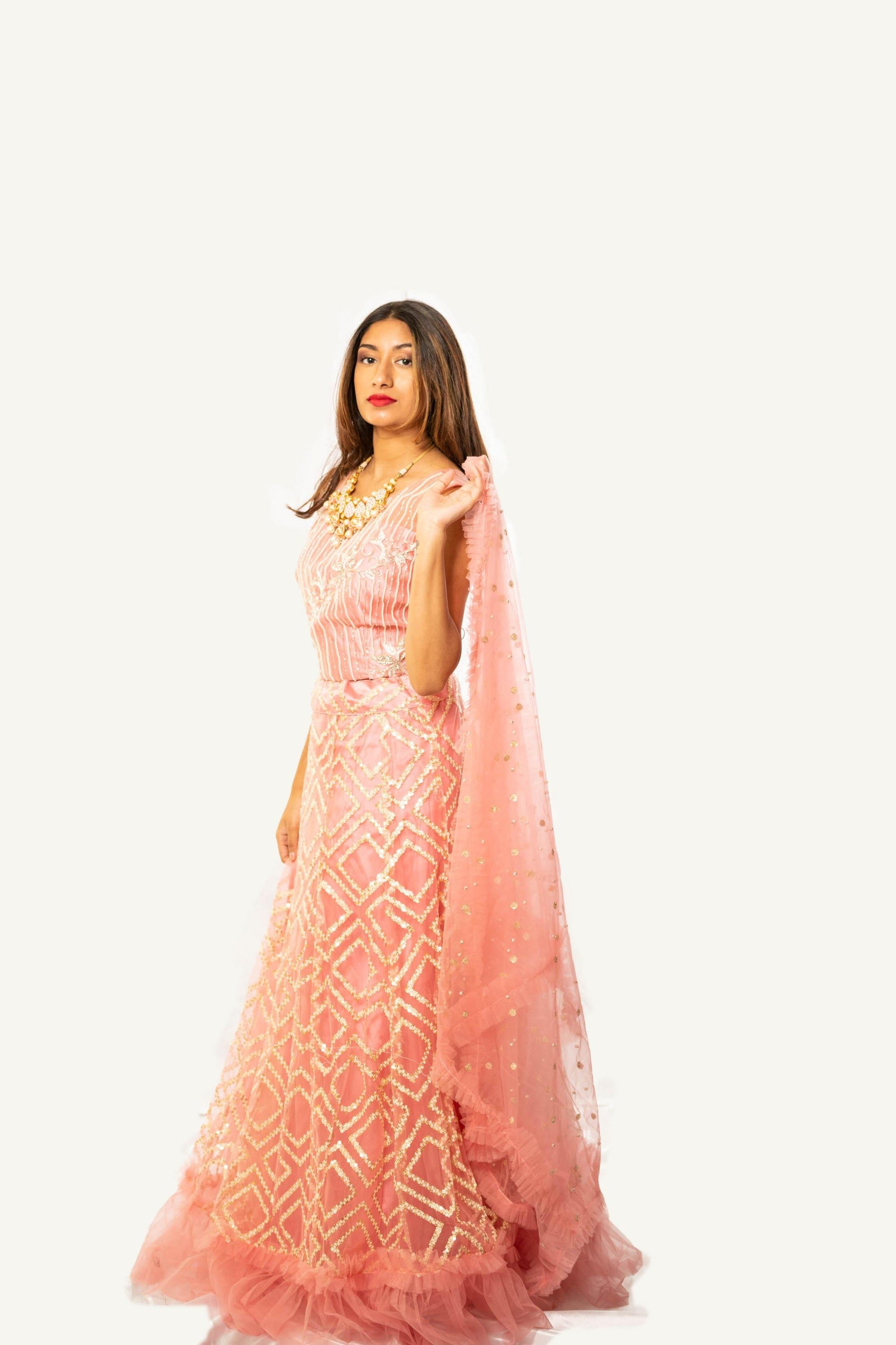 Rent Pink Gold Foil Layered Ghagara Choli