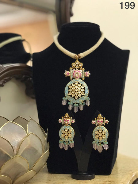 Green Meenakari Work Necklace Set