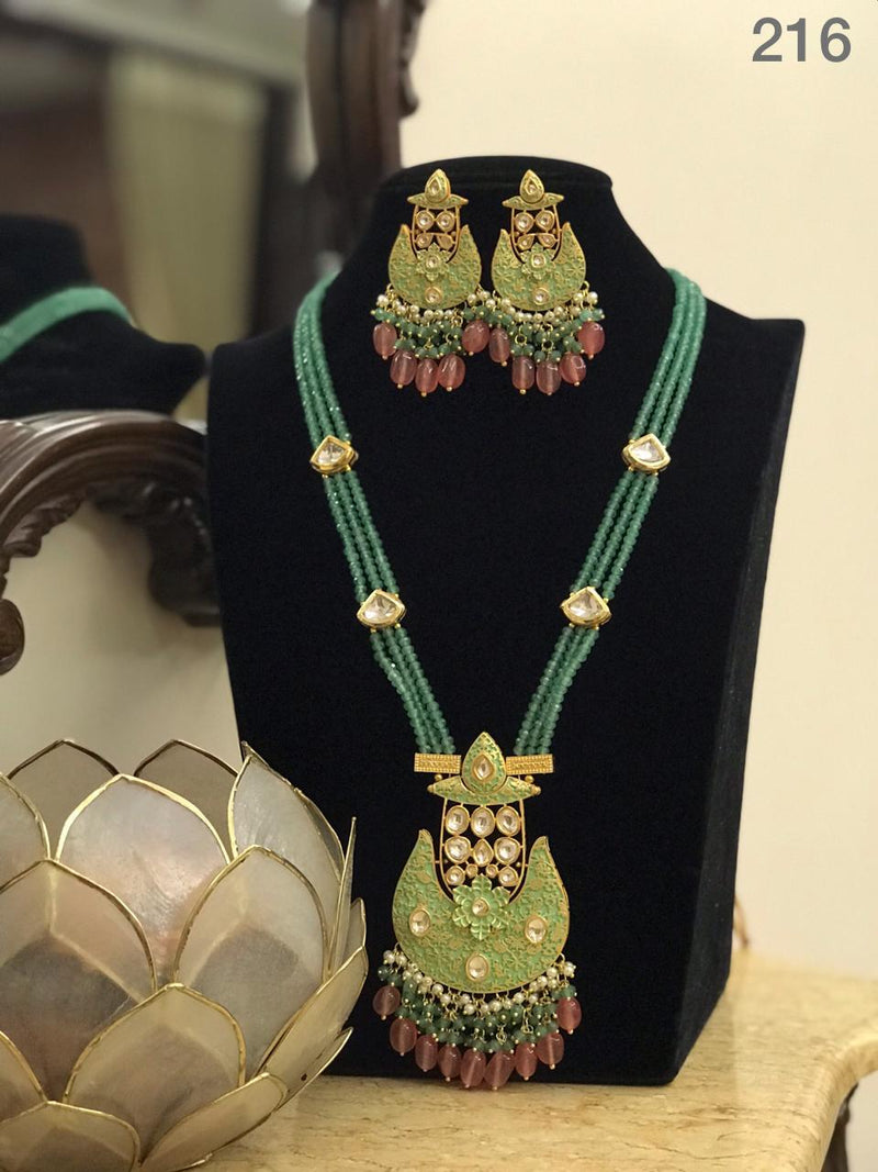 Gorgeous Kundan Necklace And Earrings Set-Accessories-Glamourental