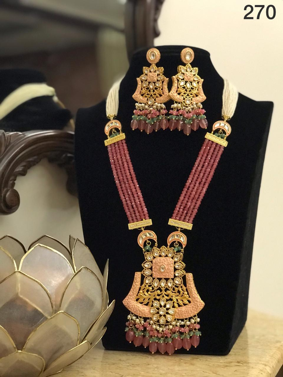 Multi String Kundan Necklace Jewellery Set-Accessories-Glamourental