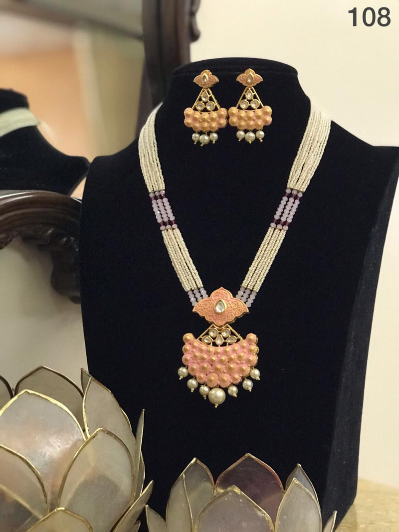 Stylish Kundan Necklace And Earrings Set-Accessories-Glamourental