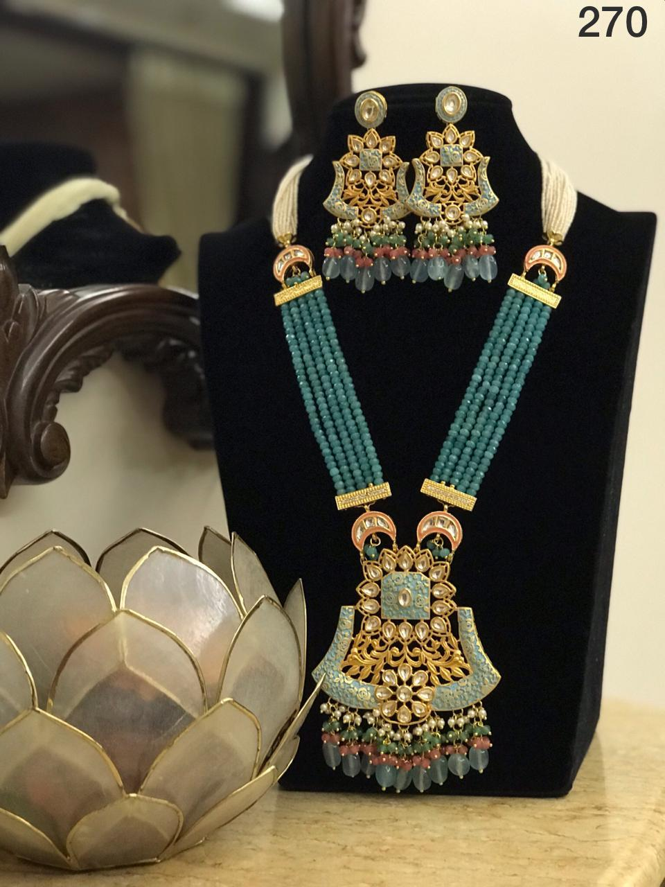 Fancy Kundan Necklace Set-Accessories-Glamourental