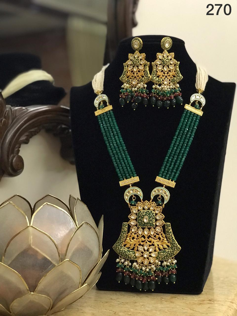 Fancy Kundan Necklace Jewellery Set-Accessories-Glamourental