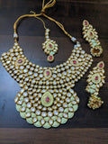 Embossed Necklace With Earrings & Maang Tikka Set