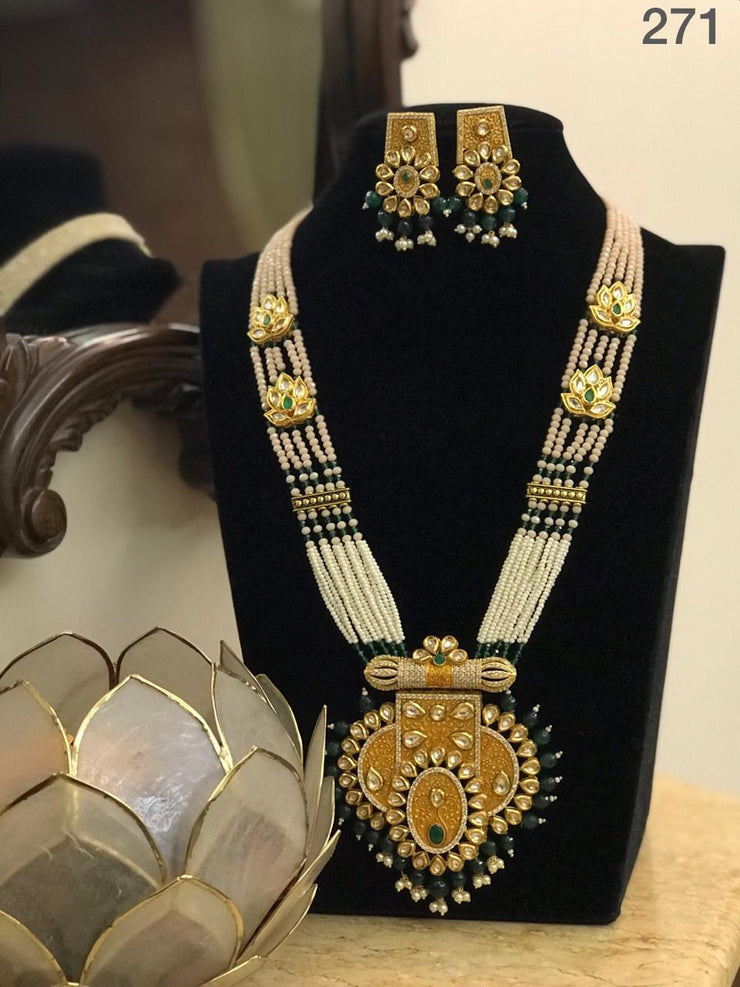 Necklace With Kundan Pendant & Earrings Set