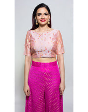 Rent Light Pink And Fuchia Crop Top And Palazzo With Dupatta-Women-Glamourental