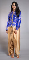Rent Royal Blue Jacket and Gold Dhoti Set