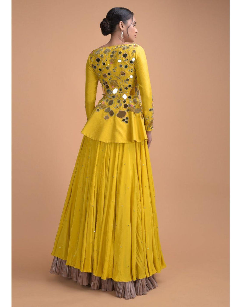 Rent Mustard Yellow Peplum Style Top With Lehenga-Women-Glamourental