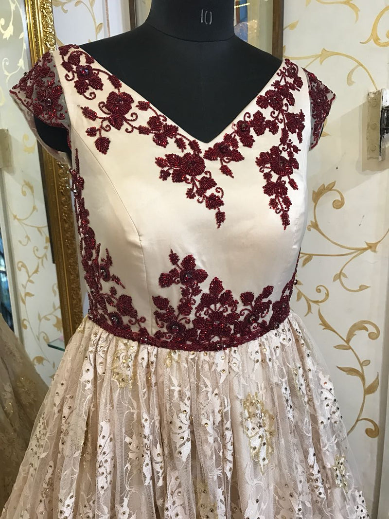 Rent Ivory And Maroon Embroidered Gown-Women-Glamourental
