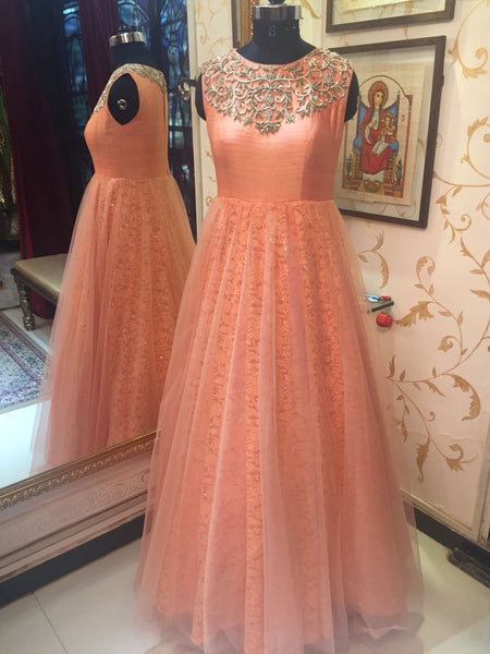 Coral Embroidered Gown